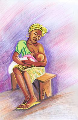 Woman Breastfeeding Bay In Rwanda Art Print