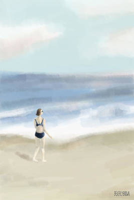 Abstract Beach Landscape Digital Art - Woman By The Sea by Beverly Brown