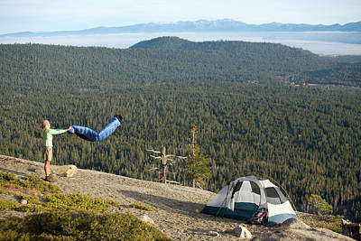 Echo Lake Photograph - Woman Camping Near Lake Tahoe, Ca by Justin Bailie