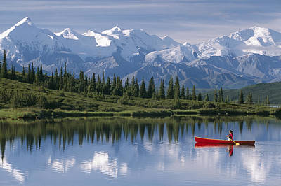 Woman Canoeing In Wonder Lake Alaska Print by Michael DeYoung