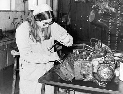 Excellence Photograph - Woman Car Mechanic by Underwood Archives