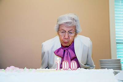 Woman Celebrating Her 100th Birthday Art Print