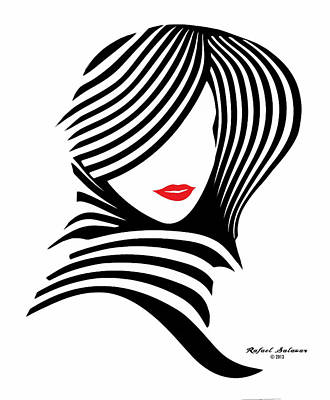 Digital Art - Woman Chic In Black And White by Rafael Salazar