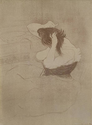 Impressionism Drawing - Woman Combing Her Hair, From Elles, 1896 by Henri de Toulouse-Lautrec