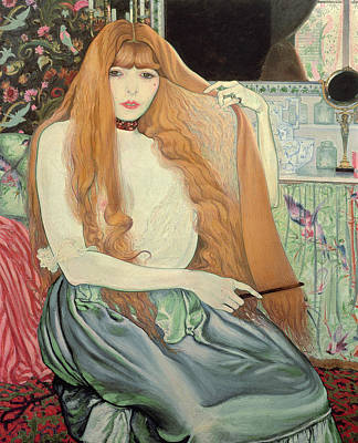 Woman Combing Her Hair Print by Louis Anquetin