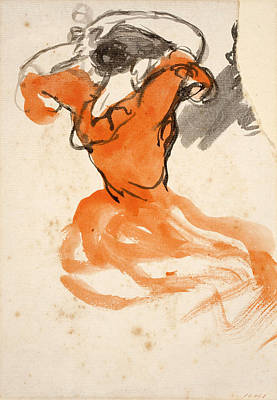 Woman Combing Her Hair Art Print