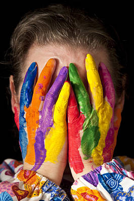Photograph - Woman Concealing Face Behind Multicolored Fingers by Jim Corwin