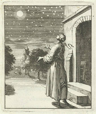 Contemplate Drawing - Woman Contemplating The Moon And Stars, Jan Luyken by Quint Lox