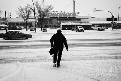 woman crossing the road towards supermarket 8th street Saskatoon Saskatchewan Canada Art Print by Joe Fox