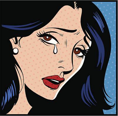 Art Prints Digital Art - Woman Crying by Mcmillan Digital Art