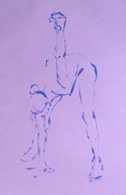 Painting - Woman Dancer Stretching Touching Floor by Mike Jory
