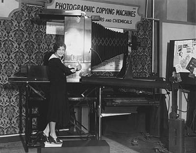 Copying Photograph - Woman Demonstrates 1930 Copier by Underwood Archives