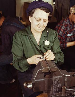 Woman Doing Bench Work On Small Gun Art Print