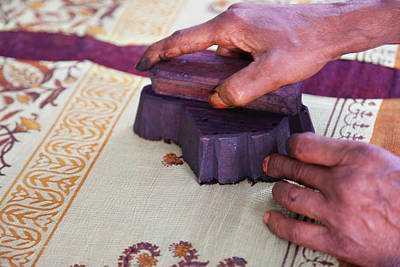 Indian Ink Photograph - Woman Doing Block Print On Fabric by Keren Su