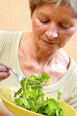 Woman Eating Salad Art Print