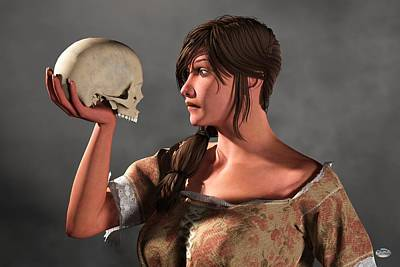 Philosophizing Digital Art - Woman Examining A Skull. by Daniel Eskridge