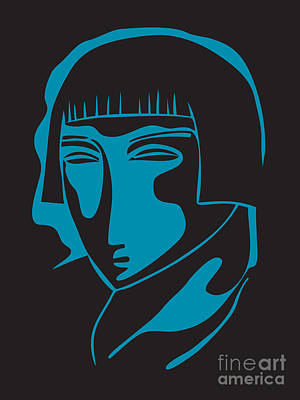 Digital Art - Woman Face  Black And Blue by Igor Kislev
