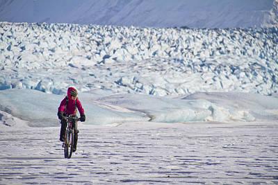 Woman Fat Tire Mountain Biking On The Art Print by Joe Stock