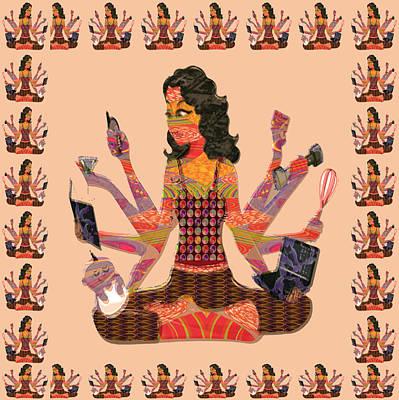 Mixed Media - Woman Female Spiritual Inspiration Multitasking Leadership Goddess Background Designs  And Color Ton by Navin Joshi