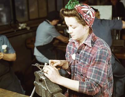 Woman Filing Small Gun Parts, 1943 Art Print