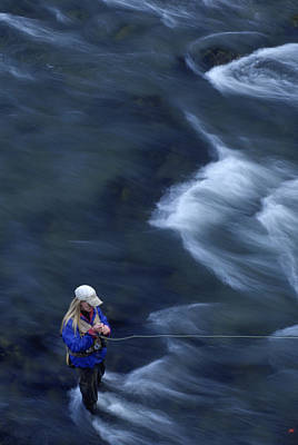 Colorado Fly Fishing River Wall Art - Photograph - Woman Fly Fishing, Colorado by Chris Giles