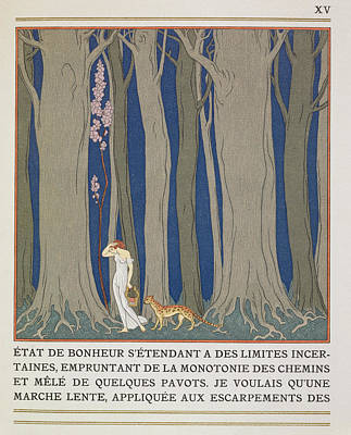 Woman Followed By A Leopard Art Print by Georges Barbier