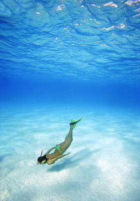 Woman Free Diving Art Print by M Swiet Productions