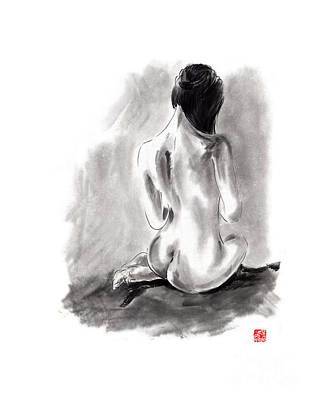 Woman Geisha Erotic Act Beautiful Girl  Japanese Ink Painti Art Print