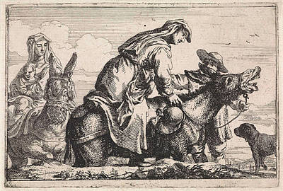 Children Sitting Drawing - Woman Gets On A Donkey, Jan Baptist De Wael by Jan Baptist De Wael