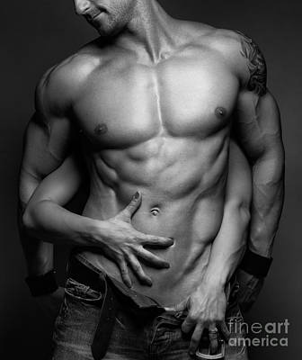 Bare Torso Photograph - Woman Hands Touching Muscular Man's Body by Oleksiy Maksymenko