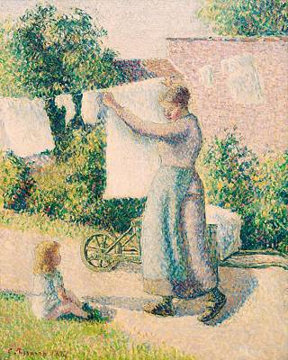 Contemporary Age Painting - Woman Hanging Laundry by Camille Pissarro