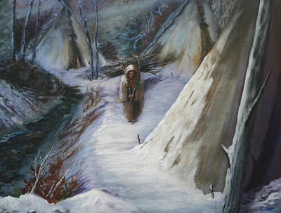 Painting - Woman Hauling Wood by Catherine Link