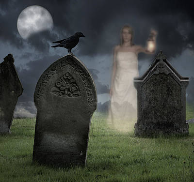 Moonlit Photograph - Woman Haunting Cemetery by Amanda Elwell