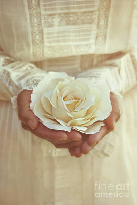 Photograph - Woman Holding A Freshly Picked Rose by Sandra Cunningham