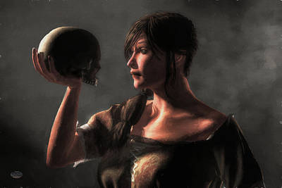 Philosophizing Digital Art - Woman Holding A Skull by Daniel Eskridge