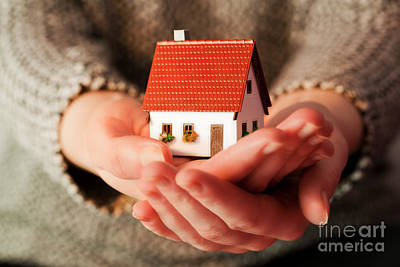 Property Photograph - Woman Holding A Small New House In Her Hands by Michal Bednarek
