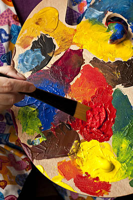 Photograph - Woman Holding Multicolored Palette And Paintbrush  by Jim Corwin