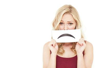Obscured Face Photograph - Woman Holding Sad Mouth by Ian Hooton