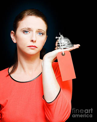 Woman Holding Service Bell With Tipping Price Tag Art Print by Jorgo Photography - Wall Art Gallery