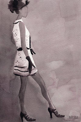 Monochrome Painting - Woman In A Black And White Mini Dress Fashion Illustration Art Print by Beverly Brown