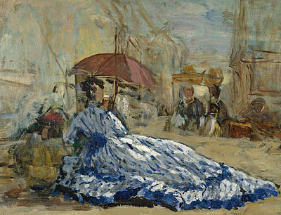 Silk Painting - Woman In A Blue Dress Under A Parasol by Eugene Louis Boudin