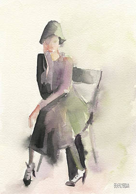 Abstract Portrait Painting - Woman In A Cloche Hat Watercolor Fashion Illustration Art Print by Beverly Brown Prints
