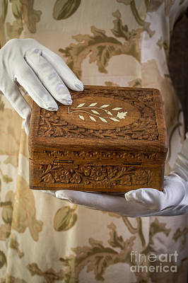 Treasure Box Photograph - Woman In A Dress Opening A Ornate Box by Edward Fielding