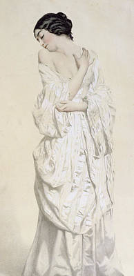 Nineteenth Century Drawing - Woman In A Dressing Gown by French School