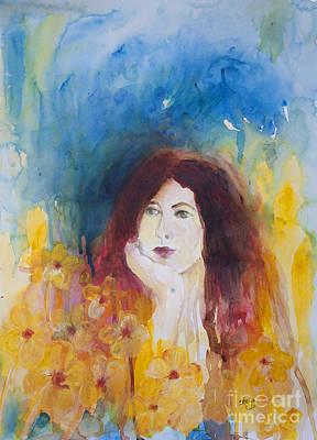 Woman In A Flower Field Art Print