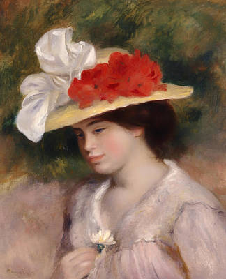 Holding A Flower Painting - Woman In A Flowered Hat by Mountain Dreams