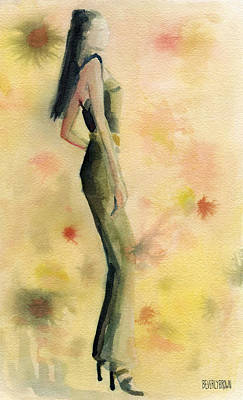 Grey Painting - Woman In A Green Jumpsuit Fashion Illustration Art Print by Beverly Brown