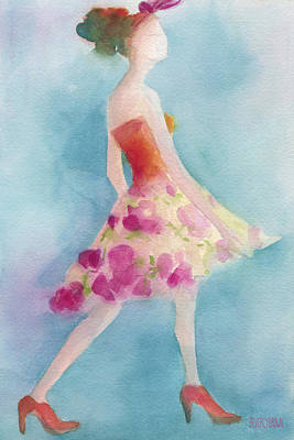 Abstract Fashion Designer Art Painting - Woman In A Pink Flowered Skirt Fashion Illustration Art Print by Beverly Brown Prints