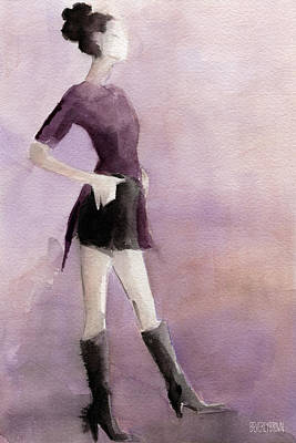 Abstract Fashion Designer Art Painting - Woman In A Plum Colored Shirt Fashion Illustration Art Print by Beverly Brown Prints