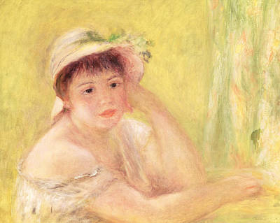 Portraits Painting - Woman In A Straw Hat, 1879 by Pierre Auguste Renoir